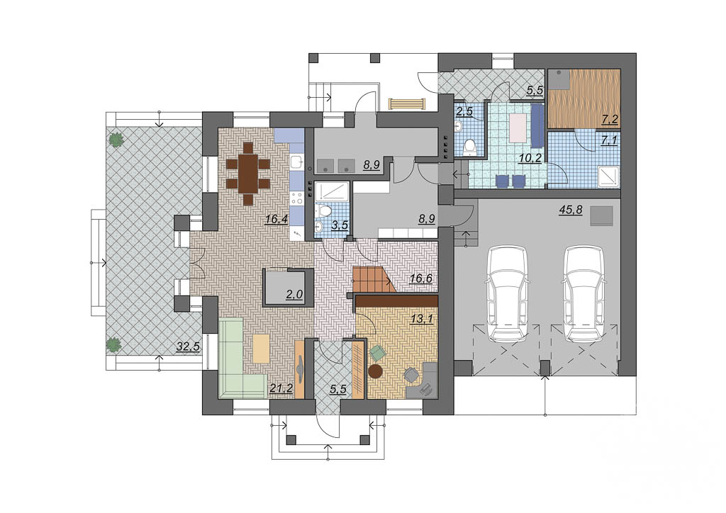 Дизайн проект фасада дома 330 м2 в КП Косулино 5