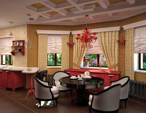 Интерьер кухни в коттедже, дизайн интерьера коттеджа